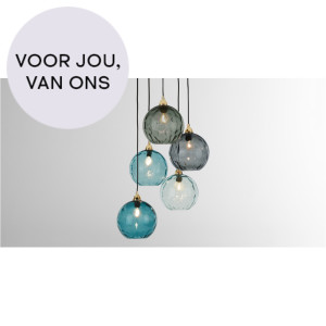 Ilaria clusterlamp, blauw multi en messing