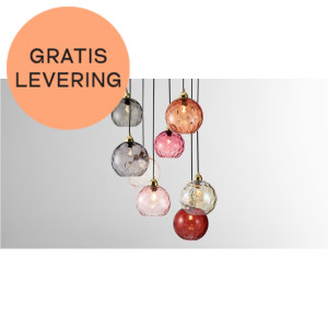 Ilaria extra grote cluster hanglamp, multicolour roze en messing