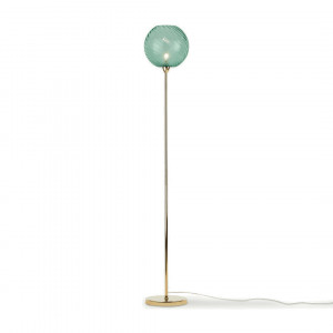 Ilaria staande lamp, messing and blauw glas