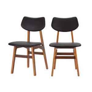2 x Jacob eetkamerstoelen, koolzwart en walnoot