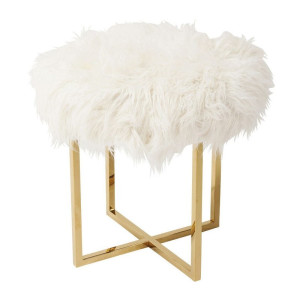 Kare Design Mr Fluffy Design kruk met gouden vierpoot