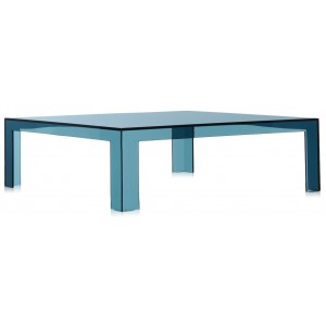 Kartell - Invisible Vierkante Salontafel - Transparant Blauw