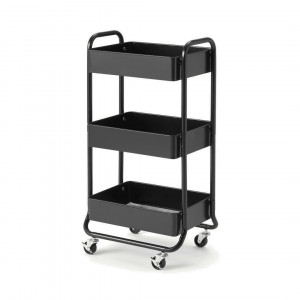 Kennedi Perforated Metal 3 Tier Storage Trolley, zwart