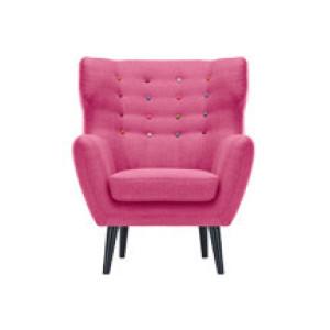 Kubrick fauteuil met gevleugelde rugleuning, snoeproze met regenboogknopen