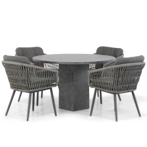 Lifestyle Western/Graniet 120 cm rond dining tuinset 5-delig