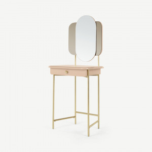 Maddie make-up tafel, roze en messing