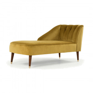 Margot chaise longue met leuning rechts, antiekgoud fluweel