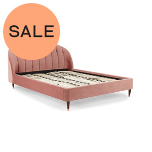 Margot kingsize bed, lichtroze fluweel