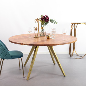 Light & Living Ronde Eettafel 'Mimoso', Acaciahout / Messing, 120cm
