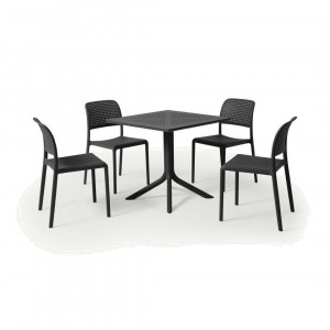 Nardi tuintafel met 4 stoelen, glasvezel en hars, donkergrijs