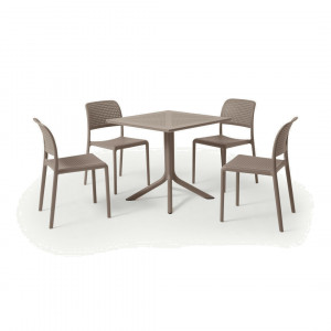 Nardi tuintafel met 4 stoelen, glasvezel en hars, lichtgrijs