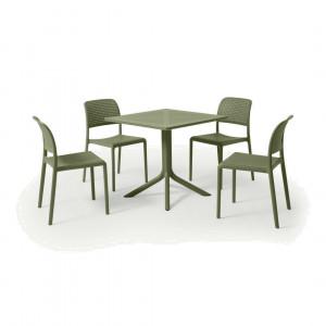 Nardi tuintafel met 4 stoelen, glasvezel en hars, olijfgroen