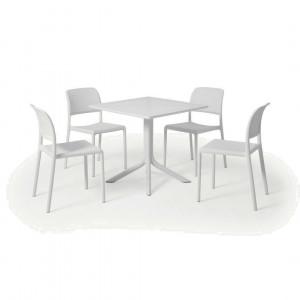 Nardi tuintafel met 4 stoelen, glasvezel en hars, wit