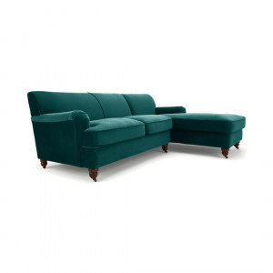 Orson Right Hand Facing Chaise end Corner Sofa, Velvet Seafoam Blue