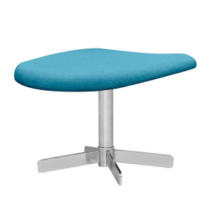 Gestoffeerde hocker Houston - geweven stof - Chroom - Stof Anda II Turquoise, Studio Copenhagen