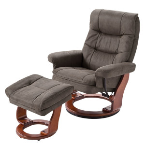 Relaxfauteuil Jetmore - microvezel - Notenboomhout - Taupe - 87cm, Nuovoform
