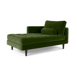 Scott chaise longue met leuning links, grasgroen katoenfluweel