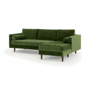 Scott vierzitsbank met loungestuk aan linkerkant, grasgroen katoenfluweel