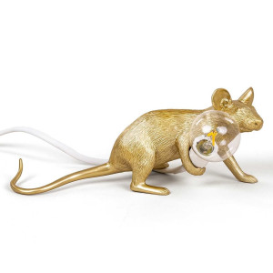 Seletti Mouse Lamp Lie down tafellamp goud