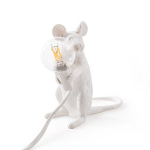 Seletti Mouse Tafellamp Resin Zittend Wit - 12 cm