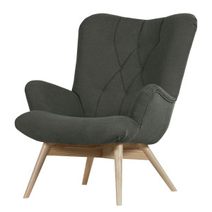 Fauteuil Tias - geweven stof - Antraciet, Morteens
