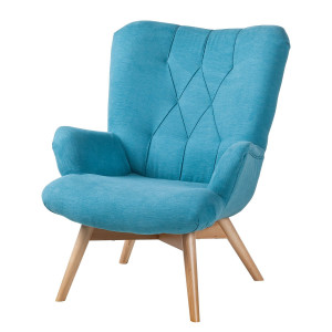 Fauteuil Tias - geweven stof - Aquablauw, Morteens