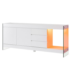energie  A+, Sideboard Banas I (inclusief verlichting) - wit, loftscape
