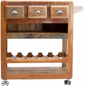 SIT keukentrolley Fridge van gerecycled gebruikt hout, shabby chic, vintage