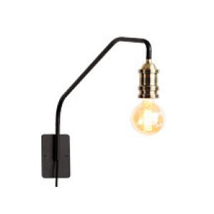 Starkey wandlamp, zwart en messing