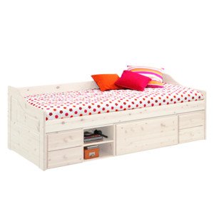 Bed Melanie II - massief grenenhout - wit, Steens