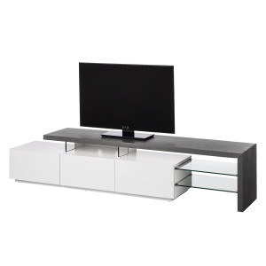 Tv-meubel Molios - mat wit/betonkleurig, roomscape