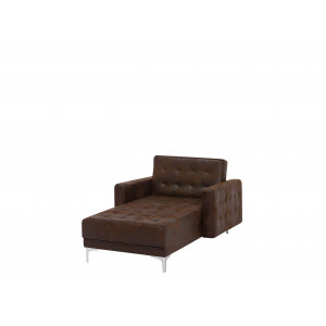 Chaise longue leather-look bruin ABERDEEN