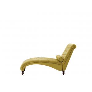 Chaise longue fluweel mosterdgeel MURET