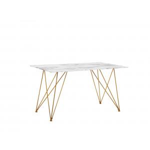 Eettafel marmerlook wit/goud 140 x 80 cm KENTON