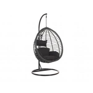 Hangstoel met standaard rotan zwart TOLLO