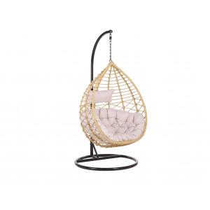 Hangstoel met standaard rotan beige/zwart ARSITA