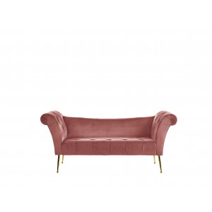 Chaise longue fluweel roze NANTILLY