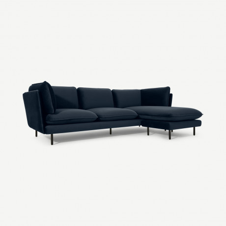 Wes 3 Seater Chaise End Corner Sofa, Ocean Blue Velvet