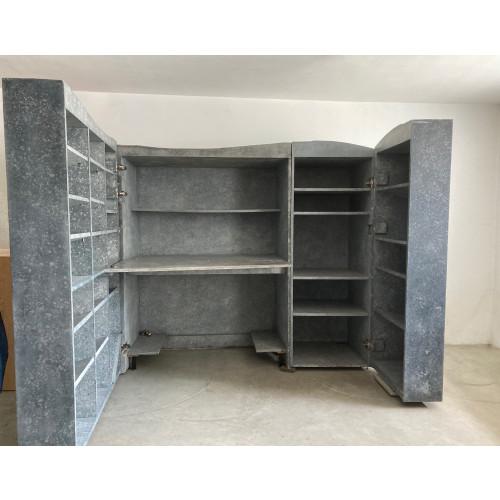 Grijze Bureaukast - Design Kast - Kantoorkast - Afsluitbaar Kantoor - Bureau Uit Graniet afbeelding
