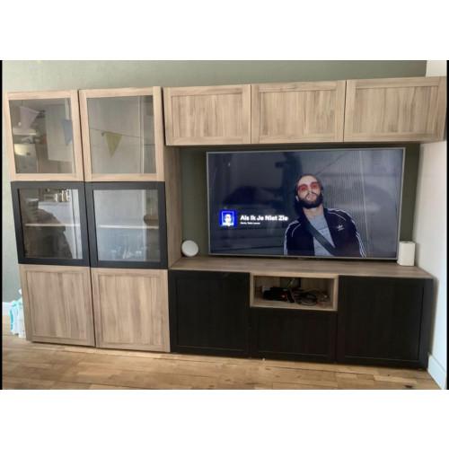 BESTÅ Tv opbergcombi/vitrinedeuren afbeelding