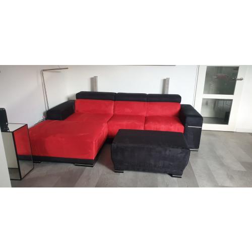 Hoekbank  Rood met Zwart afbeelding