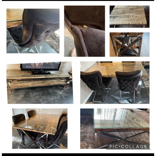 Eetstoelen richmond stijl inclusief eettafel salon tafel en tv meubel met glas afbeelding