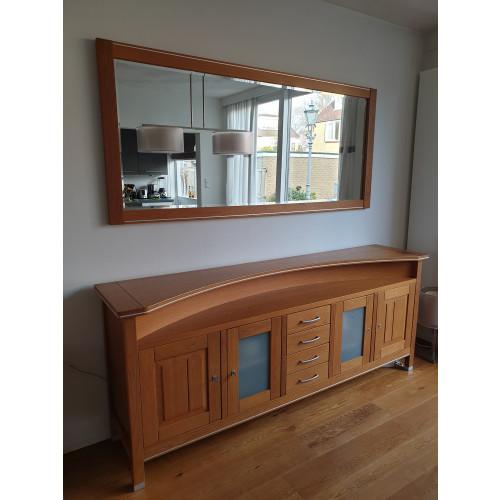 eikenhouten dressoir met bijpassende spiegel afbeelding