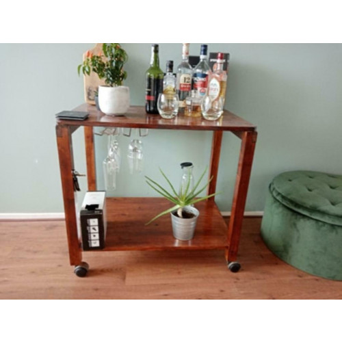 Barkar/Bar cart met glasrekken afbeelding
