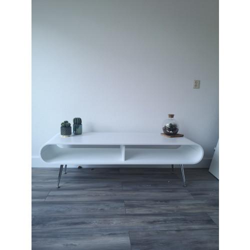 Tafel set salontafel en tv kast wit hout afbeelding 2