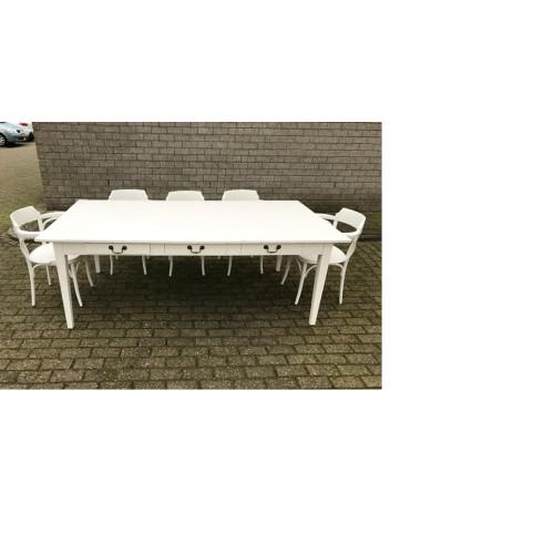 Hardhouten witte eettafel met bijbehorende stoelen.  afbeelding 2