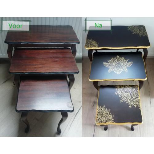 set van 3 tafeltjes creatief uniek gemaakt afbeelding