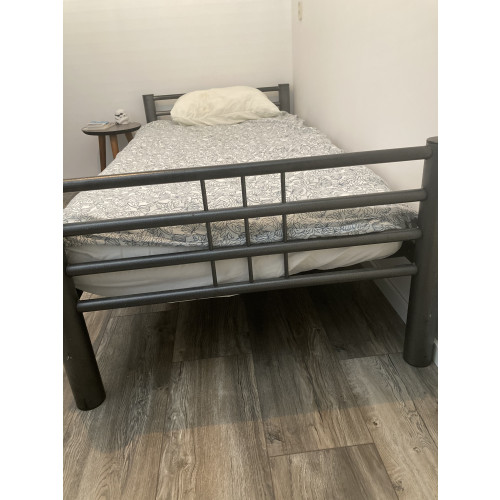 DUO Stapelbed antraciet metaal bed te koop! Combi 2 in 1!! afbeelding
