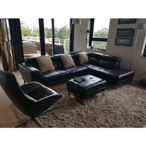 Montel leather black sofa afbeelding