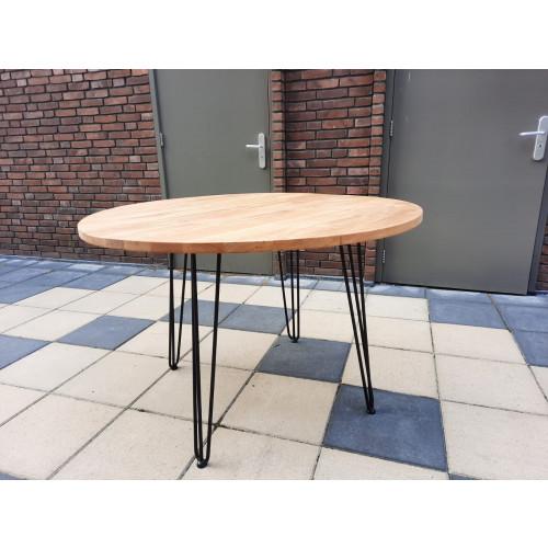 Ronde eikenhouten tafel afbeelding